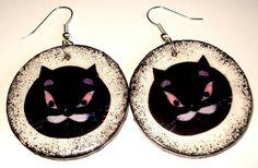Decoupage - earrings, cat Bonifacy https://www.facebook.com/eliatelierdecou