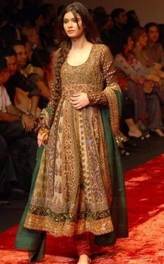 Stunning gold & green anarkali suit