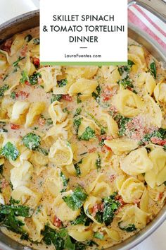 Creamy, cheese tortellini with spinach cream sauce in less than 20 minutes! This Spinach Tomato Tortellini is THE perfect quick skillet dinner for busy weeknights and it tastes like an Italian restaurant recipe at home. Spinach And Tomato Tortellini, Tortellini Recipes, Cheese Tortellini, Spinach And Cheese, Creamy Cheese, Pasta Recipes, Real Food Recipes, Healthy Recipes, Fall Recipes