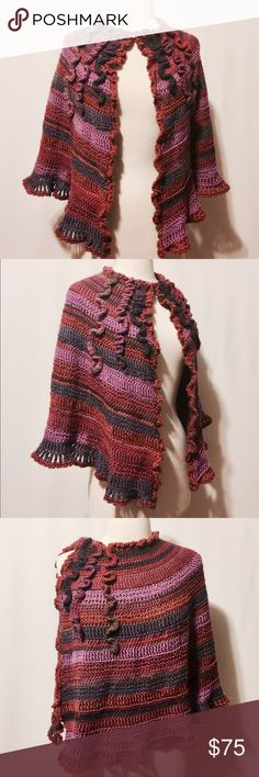 """⭐️ Handmade Crochet Plum & Wine Ruffled Short Cape Stand apart! Original design, handmade cape. Hook and eye closure at neckline. Can be worn of the side or with an open center. Layer with a turtleneck or heavy sweater to run errands in. 70% Wool 20% Cotton 10% Poly Hand wash 21"""" long Accessories Scarves & Wraps"""