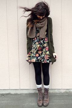 Dark Green Floral Dress (Pink/Ivory/Green/Red/Yellow) with Olive Green Cardigan and Accessories