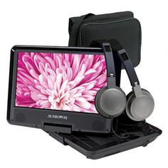 """Audiovox Portable DVD Player. 9"""" Color Screen. USB Slot. Includes AC and Car Adaptor,Headrest Mounting Bag and 2 Sets of Headphones."""