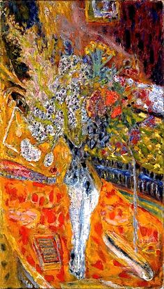Pierre Bonnard - Flowers in a vase. Bonnard, French painter and printmaker, member of the group of artists called the Nabis and afterward a leader of the Intimists; is generally regarded as one of the greatest colourists of modern art.