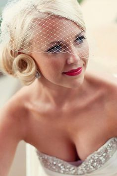 wedding hairstyles for short hair with birdcage veil   Special ...