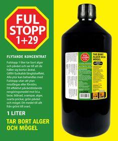 Fulstopp 1 liter tar bort alger och påväxt och ser till att de håller sig borta i åratal. Giftfri fysikalisk långtidseffekt. Alla ytor kan behandlas med Fulstopp utan att ytan missfärgas eller förstörs. Ett effektivt påväxtdödande rengöringsmedel mot bl.a. lavar, blånad, svampar, alger, svarta prickar, grön påväxt och mögel. Ett medel till allt från grönt till svart.