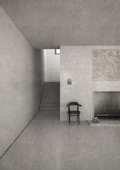 Bibliothek in Dublin - hellgraue Wände und Boden / Interior * Minimalismus by LEUCHTEND GRAU
