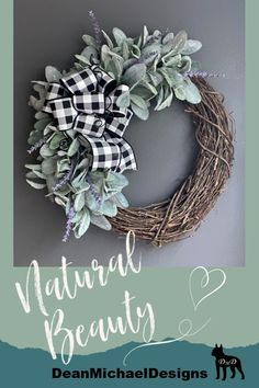 Lambs ear and buffalo check wreath. This wreath is made on a 16 inch round grapevine base. Naturally beautiful. All season wreath by DeanMichaelDesigns. Welcome guests to your home with this simple beauty. Fall decorating. Home decor. Interior design. Exterior design.