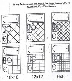 Tile size pattern & size options for standard 5'x8' bathroom. What size floor tile to make bathroom look larger? - Bathrooms Forum - GardenWeb