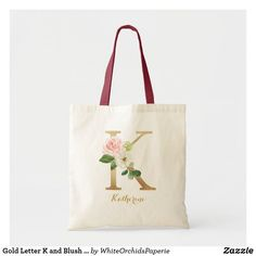Gold Letter K and Blush Floral Personalized Tote Bag Floral Tote Bags, Monogram Tote Bags, Personalized Tote Bags, Canvas Tote Bags, Teacher Tote Bags, Gold Letters, Cotton Bag, Blush, Reusable Tote Bags