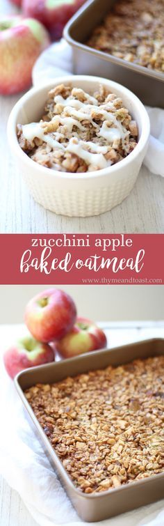 Zucchini Apple Baked Oatmeal. The best fall breakfast to bake ahead of time and enjoy all week!
