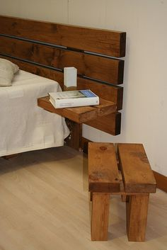 This is kind of the idea I want to do with a headboard, so I think I can make these side tables work too! Pallet recycling. Keeps tables off the floor so I can vacuum better