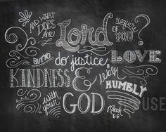 chalkboard art print - Micah 6:8 8x10 via Etsy