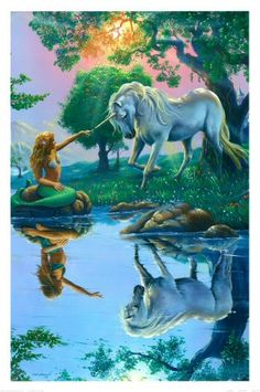 unicorn. Look at the refletion in the lake. Interesting.