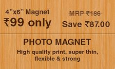 """Customised 4 × 6 """" Photo Magnets at just Rs. Photo Magnets, Coupons, Free, Coupon"""