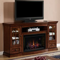 entertainment center with fireplace | Seagate Electric Fireplace Entertainment Center in Premium Pecan ...