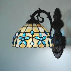 Tiffany Shell Crystal Stained Glass Wall Lamp