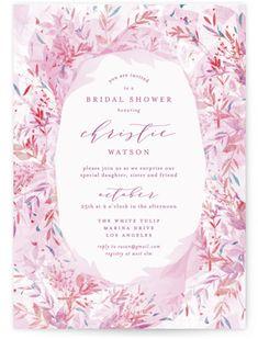 """Fantasy Floral Bride"" - Bridal Shower Invitations in Blush by Phrosne Ras. Letterpress Invitations, Pink Wedding Invitations, Graduation Party Invitations, Online Invitations, Bridal Shower Invitations, Wedding Stationery, Invitation Cards, Invites, Graduation Greetings"
