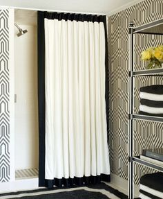 Elegant black and white shower curtain for coral bathroom