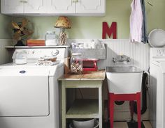 """Acquire wonderful suggestions on """"laundry room storage diy"""". They are offered for you on our internet site. Red Laundry Rooms, Laundry Room Organization, Small Laundry, Laundry Room Design, Basement Laundry, Laundry Area, Laundry Sinks, Laundry Decor, Organizing"""