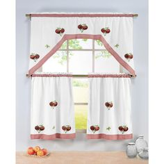 Window Elements Semi-Opaque Tomatoes Embroidered 3-Piece Kitchen Curtain Tier and Valance Set, Tomato Red