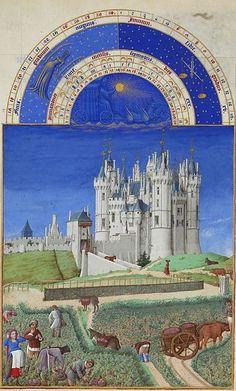 September - Les Très Riches Heures du duc de Berry. The harvest of the grapes. In the background is the Château de Saumur.