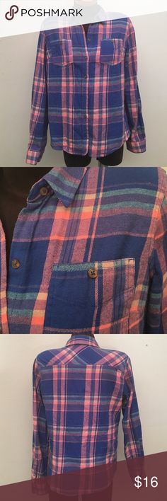 Plaid Shirt Colors are blue, pink, and mint green. Super cute! Very good condition! Mossimo Supply Co Tops