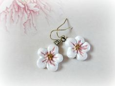 Cherry Blossom flower earrings -1- clay dangles  flower pastel white dusty pink floral botanical jewelry bridal spring bridesmaid gift on Etsy, $24.26 AUD