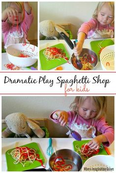 Preschool restaurant dramatic play prompt: spaghetti shop for kids! Let your kids make and create with this spaghetti themed sensory and pretend play activity! Great activity for open-ended play and fine motor skill work! Plus hours of imaginative play! Dramatic Play Themes, Dramatic Play Area, Dramatic Play Centers, Preschool Dramatic Play, Preschool Restaurant, Restaurant Themes, Play Based Learning, Learning Through Play, Preschool Cooking