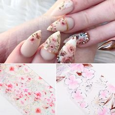 Nail Foils Flower Series Holographic Nail Art Foils Paper Nail Art Transfer Sticker Slide Decals Nails Accessories 1 Box on AliExpress Acrylic Nail Designs, Nail Art Designs, Acrylic Nails, Foil Nail Art, Foil Nails, My Nails, Nice Nails, Strong Nails, Flower Nail Art