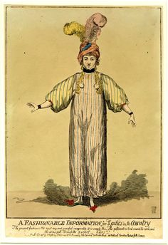 Cruikshank, A lady stands full-face, arms extended to display her striped dress which hangs straight from neck to ankles. The sleeves are full, reaching half-way between elbow and wrist. Two watches with seals hang from her neck, to indicate that the waist is at that place. She wears a turban trimmed with two feathers. 9 December 1795