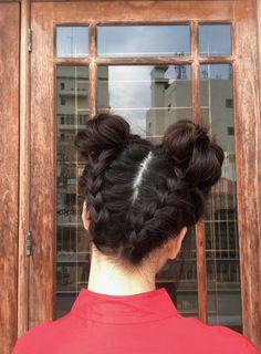 Upside Down Double Dutch Braid - Space Buns - Lunar New Year Hairstyle