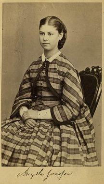 """Fru Augusta Wahlgren, f. Jansson"" (Mrs Augusta Wahlgren, maiden name Jansson), Sweden,1860's. Bohusläns Museum, nr. UMFA53226:1710"