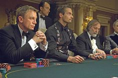 After watching Daniel Craig play poker in Casino Royale it is almost explicable that Texas Hold 'Em was Bond's favorite card game choice. Sean Connery also spotted playing in Dr. No and Pierce Brosnan in GoldenEye James Bond, Judi Dench, Casino Movie, Casino Games, Casino Night Party, Casino Theme Parties, Party Themes, Daniel Craig, Craig James