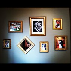 Wedding photo wall. Love the mirror tilted to make a diamond shape, instead of the traditional square. Adds simple contrast & interest
