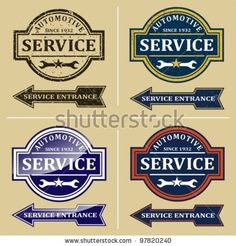 stock vector : Vintage automotive repair shop sign. Signs and labels.