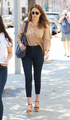 On Jessica Alba: Etienne Aigner 3/4 Sleeve Oversized Shirt ($245); Mother The Cropped Looker Skinny Jeans ($205); Cuyana Classic Leather Tote ($175); Etienne...