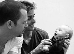 Donnie Wahlberg and Joey McIntyre with Joey's baby Griffin