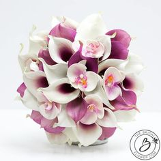 Calla lily bouquet, orchid wedding bouquet, Purple and white real touch flower bouquet, tropical bouquet with phalaenopsis orchids, picasso