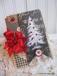 vintage style christmas blank WINTER TREE with snow flock handmade card. $8.50, via Etsy.