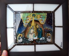 Reverse painting on glass icon and stained glass tiffany panel depicting the 'NATIVITY SCENE' Acrylic Colors, Black Wood, Colored Glass, Nativity, Stained Glass, Tiffany, Scene, Handmade, Painting