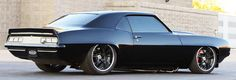 Chevy Camaro 1969 SS bagged big wheels fast horsepower custom tricked pimped out car muscle car modern murdered out