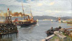 Nils Hansteen (1855-1912): Fjordabåt stevner ut Trondheim havn 1893 (1893)
