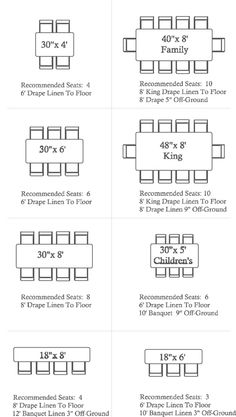 banquet seating chart template | Banquet Table Size Seating ...