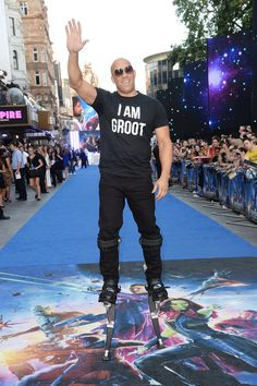 "Vin Diesel Wore Stilts And An ""I Am Groot"" Shirt At The ""Guardians Of The Galaxy"" London Premiere"
