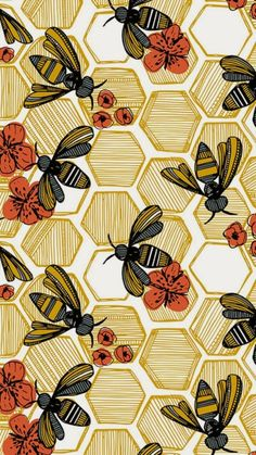 Honey Bee Hexagon by tiffanyheiger - Hand drawn honey bees on fabric, wallpaper, and gift wrap. Geometric honey pods in vintage tones with orange flowers. wallpaper Colorful fabrics digitally printed by Spoonflower - Honey Bee Hexagon Large Surface Pattern Design, Pattern Art, Pattern Painting, Print Pattern Design, Pattern Design Drawing, Vintage Pattern Design, Flower Pattern Design, Pattern Designs, Motif Design