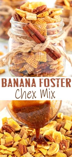 BANANA FOSTER CHEX MIX - Food - Snacks - A delicious snack mix with a banana foster flavor that's perfect as a snack or gift! Lunch Snacks, Yummy Snacks, Yummy Food, Healthy Snacks, Snack Mix Recipes, Dessert Recipes, Snack Mixes, Easy Recipes, Banana Foster
