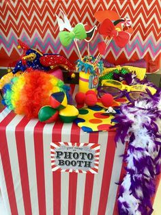 Photo booth props at a circus birthday party! See more party ideas at CatchMyParty.com!
