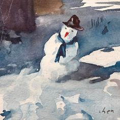 """Watercolor painting of a cute #snowman in a #sunnyday #watercolor on #strathmorepaper #instaart #instagood #instaartist #instadaily #yongchen this watercolor painting is 6x6""""."""