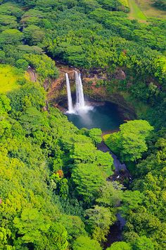 Wailua Falls from the Air - Kauai, Hawaii, United States