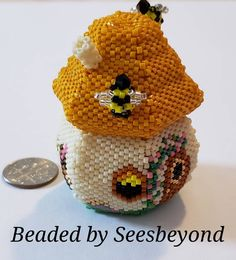 Bee Keepers Cottage Bear House Hand Beaded Sculpture | Etsy Bead Animals, One Pic, Crochet Earrings, Bee, Cottage, Hands, Sculpture, Pattern, House